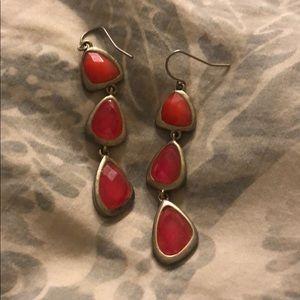 Francesca's Pink Stone Drop Earrings